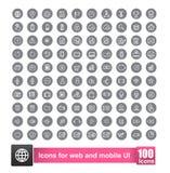 Set 100 ikona z tłem dla sieci i mobilnego mądrze telefonu Obraz Royalty Free
