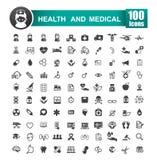 Set 100 ikona zdrowie 001 i medyczna wektorowa ilustracja Zdjęcie Royalty Free