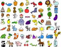 Set Ikonen der Tiere, Nahrung, Natur Lizenzfreie Stockfotografie