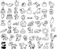 Set Ikonen der Tiere, Nahrung, Natur, Vektor Lizenzfreie Stockbilder