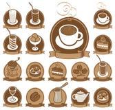 Set Ikonen für Kaffeestube Stockbild