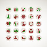 Set Ikonen für neues Jahr und Weihnachten Stockfotos