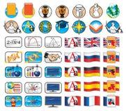Set Ikonen für Schule Stock Abbildung