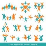 Set Ikonen: Geschäft, Familie, Tanz. Lizenzfreie Stockfotografie