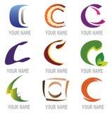 Set Ikonen und Zeichen-Elemente bezeichnen C mit Buchstaben Stockbild