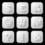 Set Ikonen Zeichen und Symbole Lizenzfreies Stockfoto