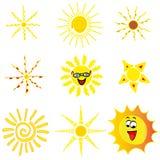 Set of 9 ikono sun. On a white background Stock Image