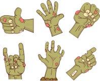Set ikony, żywy trup ręki Kolekcja gestykuluje kompletnie dla Halloween Śmieszni ręka projekta elementów ludzie wektor Fotografia Royalty Free