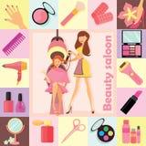 Set ikony dla fryzjera, stylisty i makijażu artysty z symbolami, wektor Fotografia Royalty Free