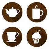Set ikony dla przerwy Ikony z czajnikiem, filiżanką, kubkiem i tortem, obraz royalty free