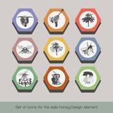 Set ikony dla sprzedaż miodu 5 ilustracja wektor