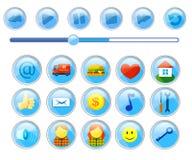 Set ikony dla stron internetowych interfejs i guziki dla gracza royalty ilustracja