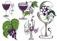 Set ikony dla wina Zdjęcia Stock