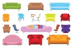Set ikony dla wnętrza, kanapy, krzesła, karła Ikona eps10 Fotografia Royalty Free