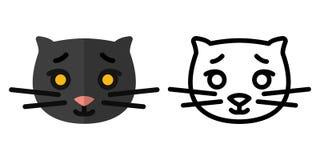 Set ikony - logo w liniowym i płaskim stylu głowa śliczny kot r?wnie? zwr?ci? corel ilustracji wektora ilustracja wektor