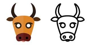 Set ikony - logo w liniowym i płaskim stylu głowa krowa r?wnie? zwr?ci? corel ilustracji wektora royalty ilustracja