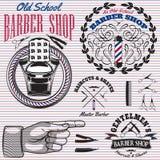 Set ikony na tematu fryzjera męskiego sklepie Fotografia Royalty Free