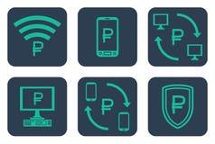 Set ikony o online zapłatach z rublowymi symbolami Obrazy Royalty Free