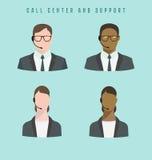 Set ikony samiec i kobiety centrum telefonicznego avatars z słuchawki royalty ilustracja