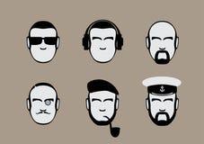 Set ikony samiec stylizować twarze Fotografia Royalty Free