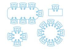 Set ikony spotkanie biznesmeni przy stołem odgórny widok Obrazy Stock