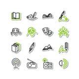 Set ikony - sztuki Literatura, teatr, radio Zdjęcie Royalty Free