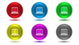 Set ikony w kolorze, ilustracja, komputer Obrazy Stock