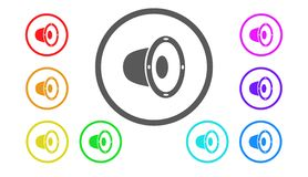 Set ikony w kolorze, ilustracja, mówca Obrazy Stock