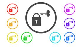 Set ikony w kolorze, ilustracja, ochrona Obraz Royalty Free