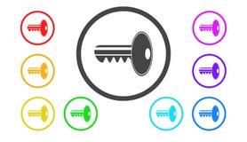 Set ikony w kolorze, ilustracja, ochrona Zdjęcia Royalty Free