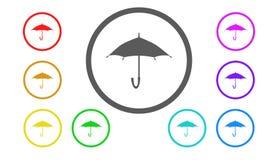 Set ikony w kolorze, ilustracja, parasol Obraz Royalty Free