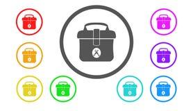 Set ikony w kolorze, ilustracja, torba Zdjęcie Royalty Free