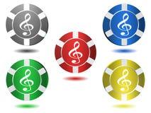 Set ikony w kolorze, treble clef, ilustracja Obraz Stock