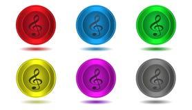 Set ikony w kolorze, treble clef, ilustracja Zdjęcie Stock