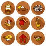 Set ikony w ręka rysującym kreskówka stylu na Japonia Zdjęcia Stock