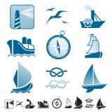 Set ikony z łodzi sylwetkami Fotografia Royalty Free
