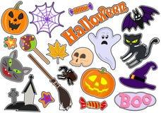 Set ikony z postaciami dla Halloween Rysunkowi majchery wektor Zdjęcia Royalty Free