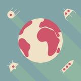 Set ikony ziemia z latać ufo statek kosmicznego i satelitę royalty ilustracja