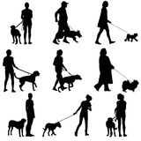 Set ilhouette of people and dog. Vector illustration Stock Image