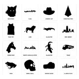 Set of illinois state, boxing glove, frog, alligator, horse face, tank top, cowboy hat, wolf face icons. Set Of 16 simple  icons such as illinois state, boxing Royalty Free Stock Photography