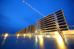 Set of illuminated deck-chair stack on ship deck Royalty Free Stock Images