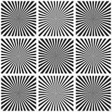 Set of Illusion rays. Vector Illustration. Retro sunburst background.Grunge design element. Black and white backdrop. Good for pic Royalty Free Stock Images