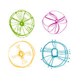 Set of illustrated abstract icons Royalty Free Stock Photo