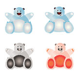 Set of illustrated bears. Set of illustrated bears on a white background, four combinations Stock Photography