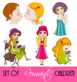 Set of illustrated children Stock Photos