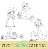 Set of illustrated children of summer Royalty Free Stock Image