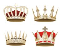 Set of illustrated crowns Royalty Free Stock Photography