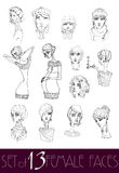 Set of Illustrated cute girls Royalty Free Stock Image
