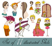 Set of illustrated cute girls Stock Photography