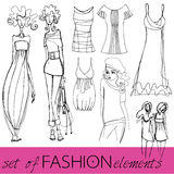 Set of illustrated elegant fashion models Royalty Free Stock Photography